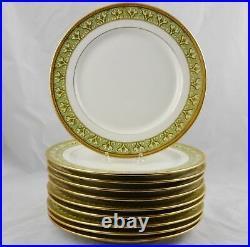 10 Antique Elite Limoges Gold Encrusted Dinner Plates 10-1/2 France Excellent