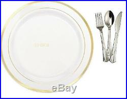 10'' Dinner / Wedding Disposable Plastic Plates & silverware, white / gold rim