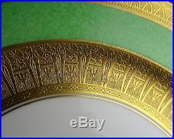 10 Epiag Czechoslovakia Porcelain D'Or Studies Gold Encrusted Green Dinner Plate
