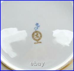 10 Furstenberg Germany Porcelain Gold Encrusted Dinner Plates, circa 1970