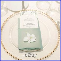 10 Gold Beaded Glass Charger Plate for Weddings and Dinner Party 33cm NEW