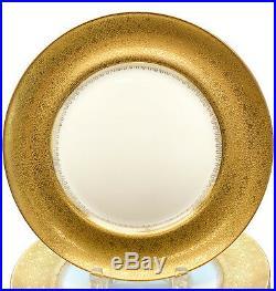 10 Limoges France M. Redon Porcelain Gold Encrusted Dinner Plates, circa 1920
