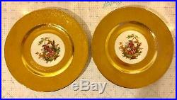 10 PCS Royal China 22 Karat Gold Encrusted Dinner Plates
