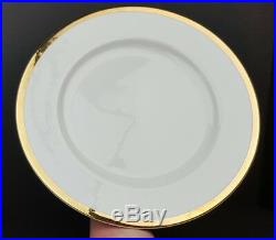 (10) Pier 1 Porcelain Gold Band On White 11 Inch Dinner Plates Excellent China