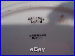 10 ROYAL CAULDON 10.25 Dinner Plates Gold Band, Black Greek Key, Gray Scrolls