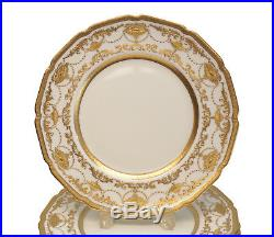 10 Royal Doulton Porcelain Dinner Plates Gold Encrusted by Higgins & Seiter