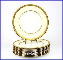 10pc Royal Worcester Porcelain Diana Cabinet Dinner Plates Gold Encrusted Rims