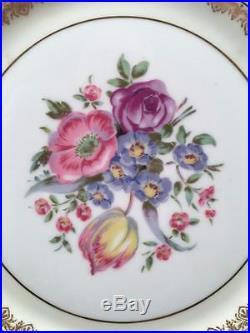 11 AntQ Limoges Charles Ahrenfeldt Floral Gold Gilt Dinner Plates