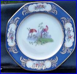 11 Antique George Jones & Son Crescent Cobalt Bird Gold Gilt Dinner Plates Eng