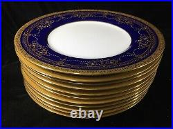 (11) Antique Mintons Gold Encrusted & Jeweled 10.625 Inch Cobalt DINNER PLATES
