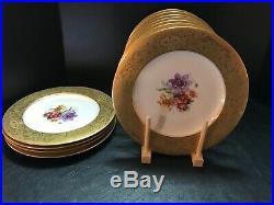 11 Antique Royal Bavarian Hutschenruthe Dinner Plates With 22k Gold Embelishment