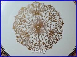 (11) GOLD ENCRUSTED Cobalt Bands SCROLLS Center STAR 11 HEINRICH Dinner Plates