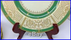 11 Royal Worcester China Dinner Plates Green with Gold accents & trim Stunning