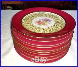 11 Tirschenreuth P T Bavaria Dinner Plates Magenta Rim Gold Trim Floral Varies