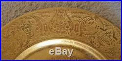 12 Antique Gold Dinner Service Plates Gilt Neo-Classical