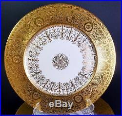 12 Antique Gold Encrusted Heinrich Bavarian Cabinet Dinner Plates SPECTACULAR