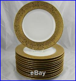 12 Antique Gold Encrusted Heinrich & Co. Bavaria Cabinet Plates 10-7/8