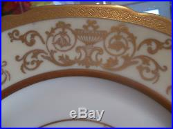 12 Antique HEINRICH & Co. Gold Encrusted Dinner Plates-Handpainted Floral Center