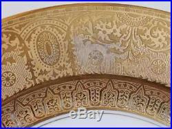 12 Antique Limoges Dinner Plates, Gold Gilt Floral Center, 10 1/2