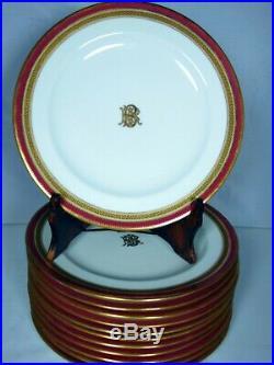 12 Cauldon English BROWN WESTHEAD MOORE Bone China 10 Dinner Plates Gold Red