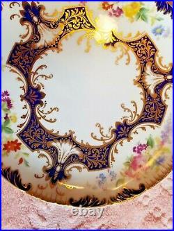 12 Cauldon Hand-Painted Botanical Dessert Gold & Cobalt Plates 1900-1909
