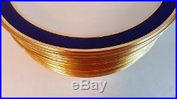 12 Cobalt Blue & Gold Lenox Special Service Or Dinner Plates 10 5/8 Wide