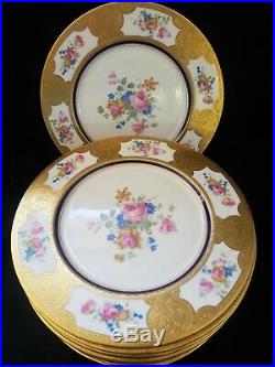 (12) Dinner Plates Concorde China Blue Raised Gold Encrusted Floral