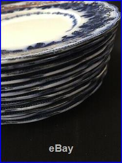 12 Dinner Plates Sevres Flow Blue with Gold New Wharf Pottery England