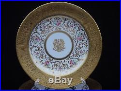 12 EXQUISITE CROWN SUTHERLAND GOLD ENCRUSTED DINNER PLATES With FLORAL MOTIF 2899