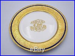 12 Elaborate Royal Doulton Dinner Plates Cobalt Gold Encrusted Raised Scrollwork