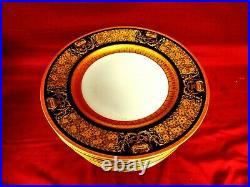 12 Gold Encrusted & Cobalt Dinner Plates Royal Bavaria Hutschenreuther
