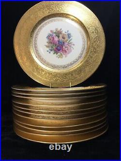 12 Heinrich & Co. Bavaria Gold Encrusted 11.125 Inch CABINET PLATES