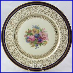 12 Heinrich & Co Gold Encrusted Cobalt & Floral Dinner Service Plates 11-1/4