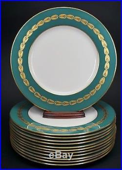 12 Lenox China Antoinette 10 1/2 Green Gold Laurel Wreath Dinner Plates