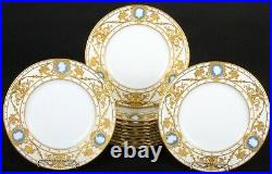 12 Minton Pate-sur-Pate Cameo Plates, by artist Albion Birks, gilded, gilt, gold