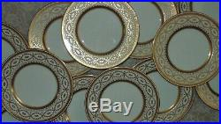 12 Minton for Tiffany & Co. Dinner Cabinet Service Plates Gold & White 10 in M