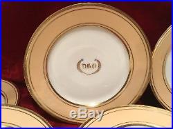 12 Old Paris Porcelain Dinner Plates Set Gold And Beige Godchaux Weill 1828-1833