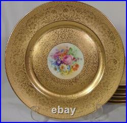 12 PICKARD BOUQUET FLOWER DINNER PLATES 24KT GOLD Encrusted Bailey Banks Biddle