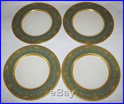 12 Rare Antique Custom Lenox Dinner Plates Teal Gold 1919 Green Logo Black Starr