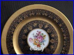 12 Rosenthal Bavaria Continental Gold Cobalt Blue Floral Dinner Plates