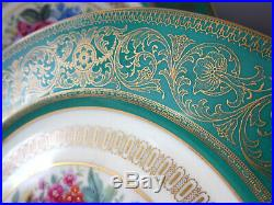 12 Rosenthal Dinner Plates Green Band Gold Encrusted Colorful Flowers England
