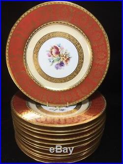 (12) Royal Bavarian Hutschenreuther Gold Encrusted Floral 10.625 DINNER PLATES