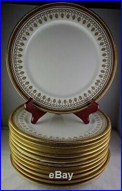 12 Royal Cauldon China H1640 Brown Westhead Moore Dinner Plates Gold Greek Key