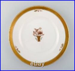 12 Royal Copenhagen Golden Basket dinner plates with gold edge
