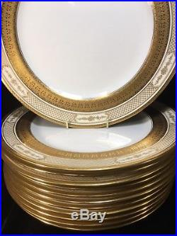 (12) Royal Doulton GOLD ENCRUSTED 10.5 Inch DINNER PLATES wGold Covered Feet