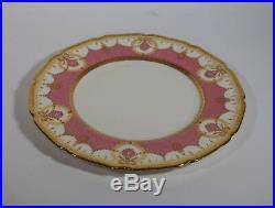 12 Royal Doulton Raised Gold & Pink Dinner Plates Circa 1920