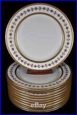 12 T&V Limoges GORGEOUS Cabinet Dinner Plates Blue Flowers Raised Gold