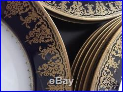 12 Theodore Haviland Limoges Cobalt Blue & Gold Dinner Plates