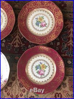 12 Vintage PIRKENHAMMER CZECHOSLOVAKIA 10.8 DINNER PLATES GOLD BURGANDY FLORAL