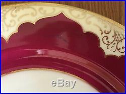 (12) Vintage TIRSCHENREUTH P. T. Burgundy Gold Floral Dinner Plates TIR150 EUC